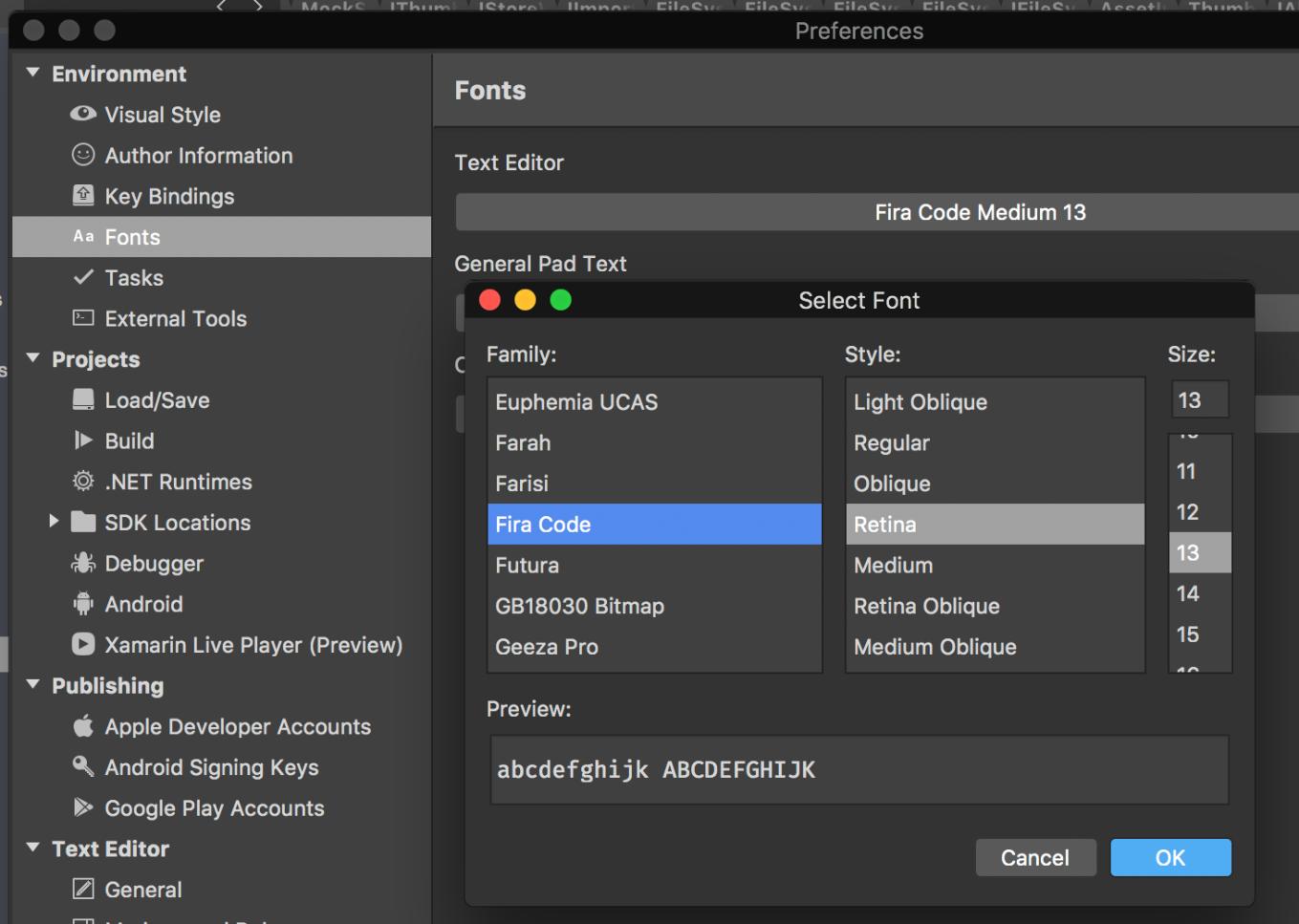 Visual Studio for Mac with Ligatures font 'Fira Code' – marcduerst com